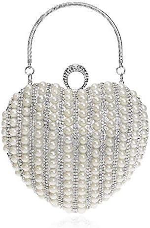 ヨーロッパとアメリカのファッションパールハート型のイブニングバッグ、絶妙なブライダルバンケットドレスクラッチ、レディースメッセンジャーバッグ、3色、16 * 15 * 8 Cm 美しいファッション (Color : White)