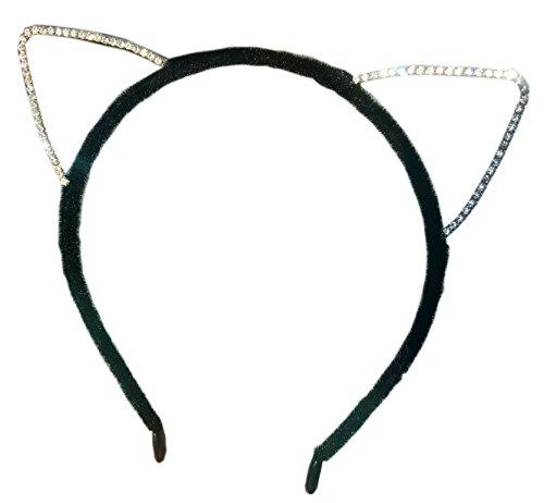Cat Ears Headband with Crystal Rhinestones. Perfect for Dress Up Fun.