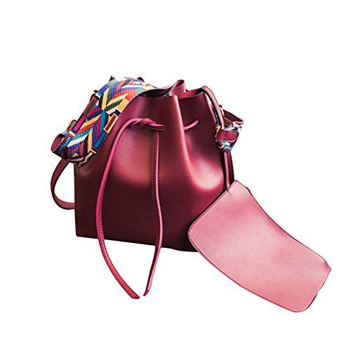 NiNE CiF Frauen Tote Schulter Handtasche Retro Mode Drawstring Eimer Tasche (Braun) Rot