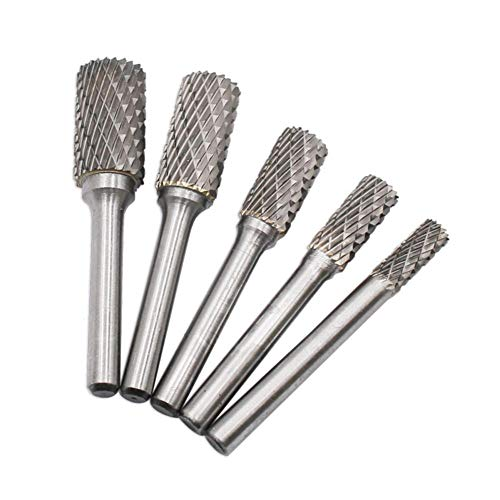 5pcs Tungsten Carbide Rotary File Cylindrical Head Drill Grinding Burr Rasp from Childplaymate
