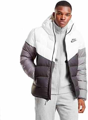 15bd19c54 NIKE Sportswear Windrunner Down Fill Men's Hooded Jacket (White/Black/Grey,  X