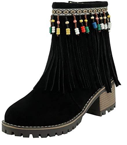 6CM Block Calaier Zipper Women Black Boots ankcib Heel SwqEZx8aq