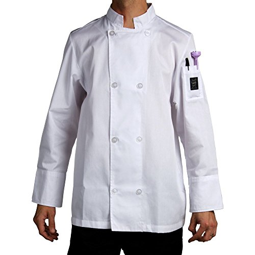 Chef Revival J049 24/7 Poly Cotton Blend Long Sleeve Unisex Cool Crew Jacket with Clear Pearl Bottons, Small, White