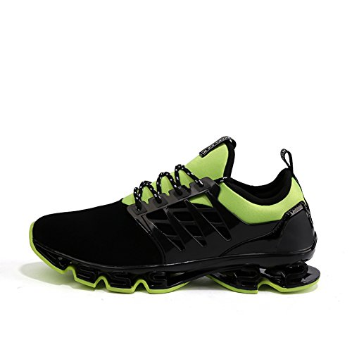 Lightweight up Mens Green Running Slip Sneakers Lace Non Walking Sport Jogging GOMNEAR Breathable Shoes Outdoor qpUwvxxR