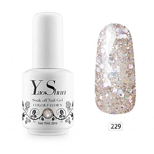 YaoShun Gel Nail Polish - Soak off Nail Gel UV LED Nail Polish Art/Beauty Care Glitter White Clean Crystal 8ml -#229