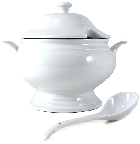 Omniware White Porcelain Covered Soup Tureen with Ladle, 2.5 Quart (Terrines Soup)