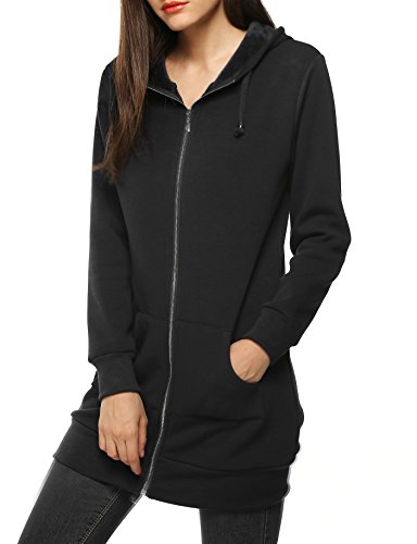 Zeagoo Women Winter Casual Zipper Hoodies Sweatshirt Outwear With Fleece,Black,Medium