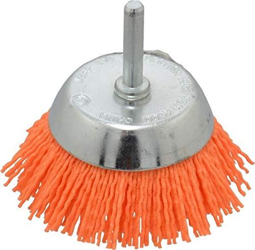 Dico - 2-1/2'' Diam, 1/4'' Shank Diam, Nylon Fill Cup Brush - Aluminum Oxide Abrasive Material, 0.04 Wire Diam (5 Pack)