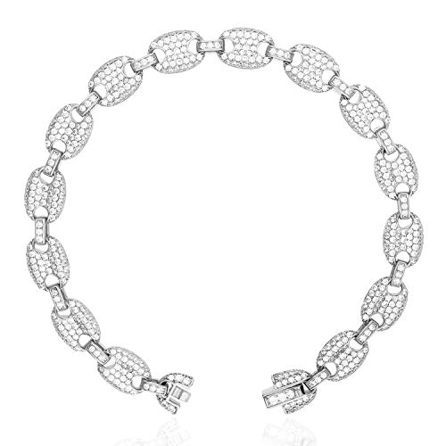 - Gold Over 925 Silver Iced Out Zirconia 8mm Puffed Mariner Gucci Link Bracelet, Rhodium Plated, 8