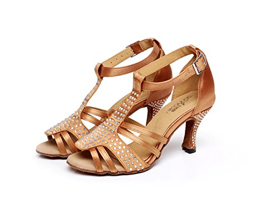 Salsa Dance Women's High heeled6cm EU37 Heels Samba Latin Tango UK5 Crystals Shoes Sandals Jazz Modern Sparking Our38 Shoes JSHOE Brown Satin Chacha xXaUWqYRdq