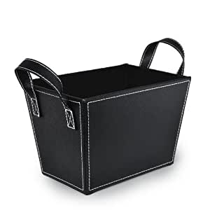 The Lucky Clover Trading Roosevelt Faux Leather Bin with Handles, Black