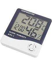 DIGIFLEX Digital LCD Temperature and Humidity Meter Clock Alarm