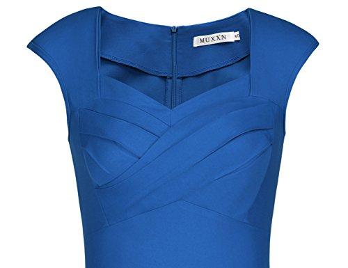 Robe Rtro de 1950 Femme Robe De Cocktail Style Robe de Robe Vintage Soire MUXXN De Annes Bright Robe Blue Audrey Hepburn SqwxvzdEAE