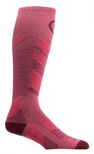 Farm to Feet Women's Waitsfield Lightweight Ski Socks, Carmine/Zinfandel, Medium