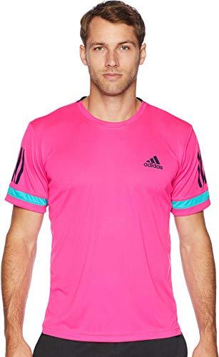 adidas Tennis Club 3 Stripes Tee, Shock Pink, Large