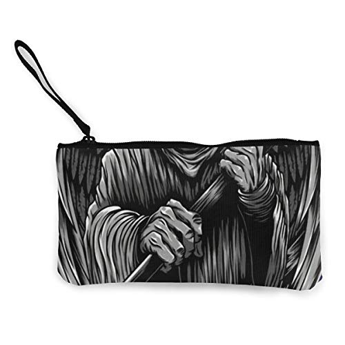 Angle Death With Wings Women Canvas Coin Purse Cosmetic Makeup Bag Zipper Pouch Wallet For Women 4.5