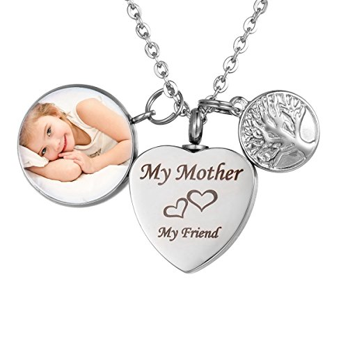 My Brother My Friend Cremation Jewelry Heart Urn Necklace Personalized Custom Photo (Personalized Photo Locket)