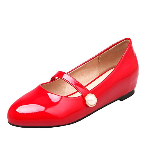 Mee Shoes Women's Sweet Low Heel Court Shoes Red yzsTHR