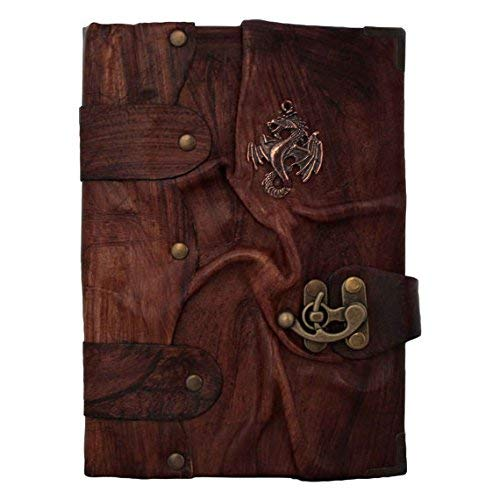 Handmade Genuine Sheep Leather Journal Diary Notebook Notepad Sketchbook Sketchpad Book Case Cover Vintage Paper Plain Women Men Children Office Product Gift - Brown Chinese Dragon