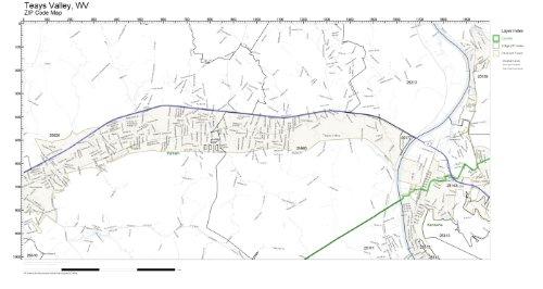 Zip Code Wall Map Of Teays Valley  Wv Zip Code Map Laminated