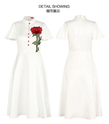 collier en robe pure courtes manches couleur zipper petit White dos WUP7n