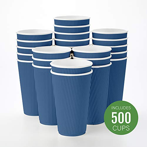 Disposable Paper Hot Cups - 500ct - Hot Beverage Cups, Paper Tea Cup - 16 oz - Midnight Blue - Ripple Wall, No Need For Sleeves - Insulated - Wholesale - Takeout Coffee Cup - Restaurantware
