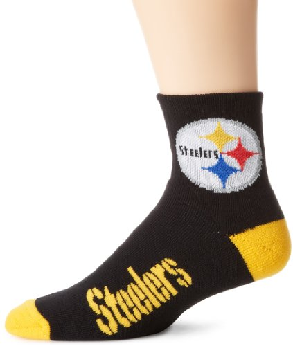 (NFL Pittsburgh Steelers Men's Team Quarter Socks, Black/Yellow, Large)
