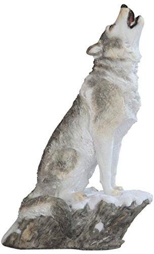 Howling Wolf Statue - StealStreet SS-G-54272 Grey & White Wolf Howling Siting on Snow Figurine