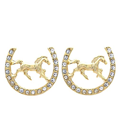 Lucky Charm Horseshoe Horse Mustang Pony Stud Post Earrings Rhinestones Fashion Jewelry (Gold)