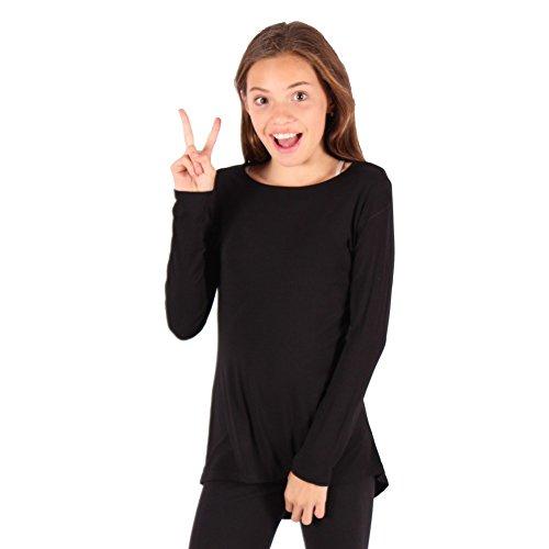 Lori&Jane Little Girls Black Solid Color Hi-Low Long Sleeved T-Shirt 6/7