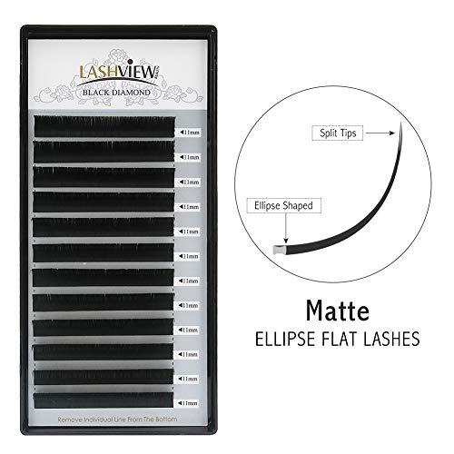 LASHVIEW Split Tips SUPER MATTE Black Mink Ellipse Flat Eyelash Extension Individual Lashes C Curl 0.20mm Thickness 11mm Length Soft Semi-permanent Application-friendly Eyelashes For Salon Use ()