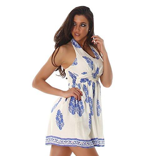 Voyelles - Vestido - cuello hálter - Sin mangas - para mujer Azul