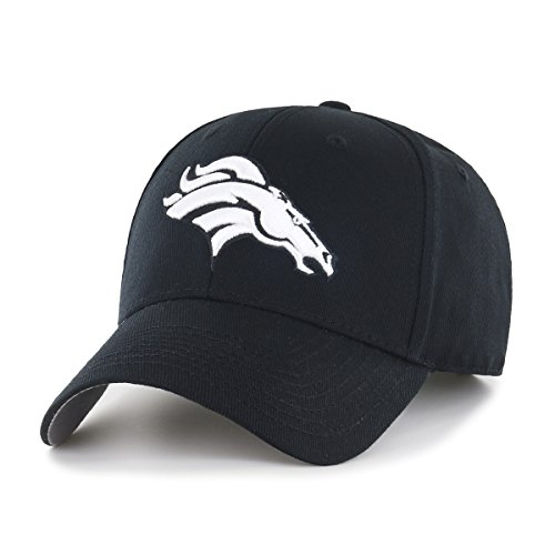 NFL Mens Denver Broncos OTS All-Star Adjustable Hat, One Size, Black And White