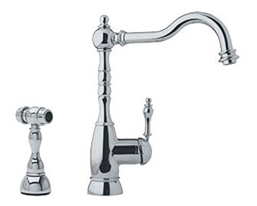 Franke Single Lever (Franke FHF180 Farmhouse Single-Handle Bar Faucet with Side Spray, Satin Nickel)