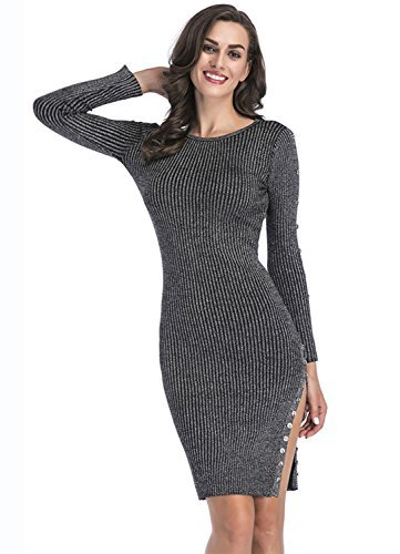 Ribbed Sweater Split Dress For Women - Slim Fit Knit Stretchable Long Sleeve Gray M Formal Sexy