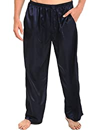 Mens Satin Solid Color Pajama Pants, Long Pj Bottoms