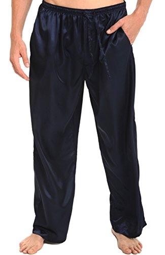Del Rossa Men's Satin Pajama Pants, Long Pj Bottoms, Large Midnight Blue (A0757MBLLG)