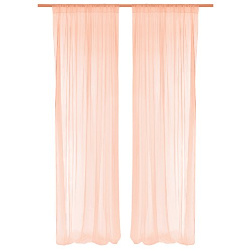 Ling's moment Peach Sheer Backdrop Curtains 10 FT 2 Panels for Wedding Ceremony Backdrop Decorations