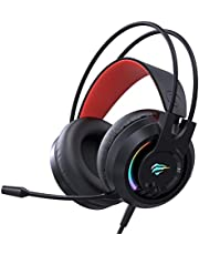 Havit RGB Gaming Headset for PS4 Xbox One Wired Game Headphone with Mic, Stereo Surround Sound, Volume Control, Soft Big Earmuffs, LED Light for PC Computer Laptop (H2020d)