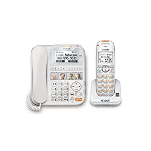 VTech SN6147 Corded & Cordless Senior Phone System with Digital Answering System and Caller ID, Expandable up to 12 Handsets, Wall-Mountable, White