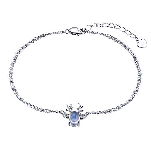 S925 Sterling Silver Bracelet Lady Europe and The Us All The Way Have Your Hand Jewelry Elk Moonlight Stone ()