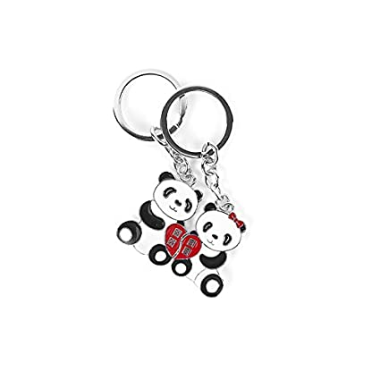Romantic Couple Cute Panda Keychain | Metal Keyring Gift Set for Couples in Love - Exclusive Design from the Emperor of Gadgets®