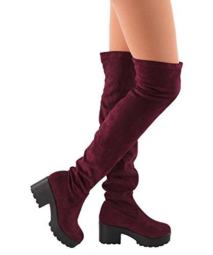 Womens Oberschenkel Hohe Plateaustiefel Sexy Chunky Block Ferse Stretch Ziehen Sie über die Knie Hohe Stiefel Burgund
