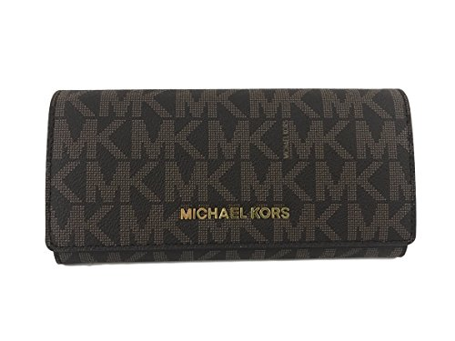 Michael Kors Jet Set travel Carryall Signature PVC Clutch wallet in (Brown Plum)