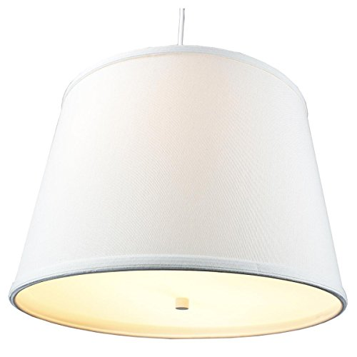 2 Light Plug-In Pendant Light by Home Concept - Hanging Swag Lamp Light Oatmeal with Diffuser - Perfect for apartments, dorms, no wiring needed (Light Oatmeal, White two-light) (Hanging Pendant Swag Lamp)