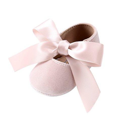 Bowknot 0 Meses Antideslizantes 18 De Prewalker Pasos Zapatos Auxma Zapatillas Primeros Niña Bebé Beige Bebés Para XATFqH8