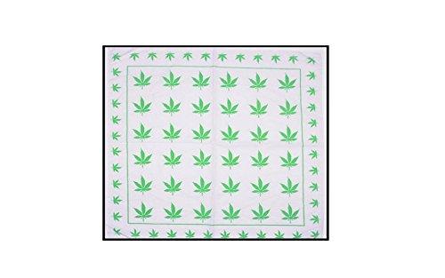 Marijuana Cannabis Handkerchief Headwrap Bandana Doo Rag White Green