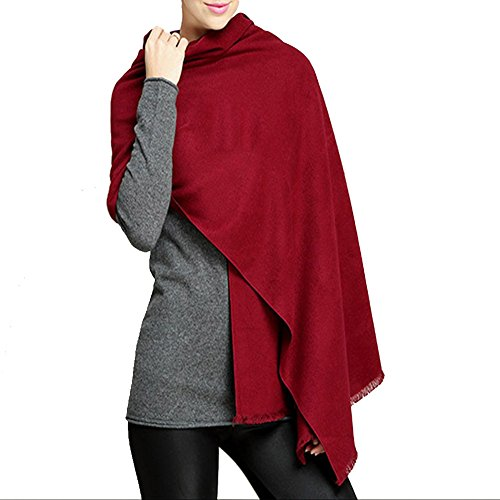 YAOYUE-US Luxurious Large Size Thick Solid Color Scarves Shawl Soft Pashmina Mulberry Silk Blended Velvet Wrap For Womens (Wine -
