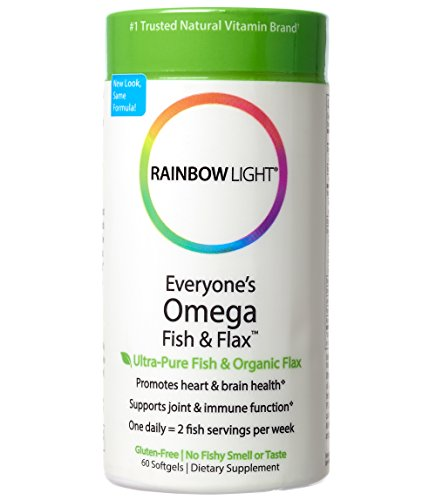 Rainbow Light - Everyone's Omega Fish & Flax, Supports a Healthy Brain and Heart while Promoting Joint Comfort with Omega-3 EPA and DHA, Organic Flax Oil and Vitamin D3, Lemon Flavored, 60 Softgels by Rainbow Light