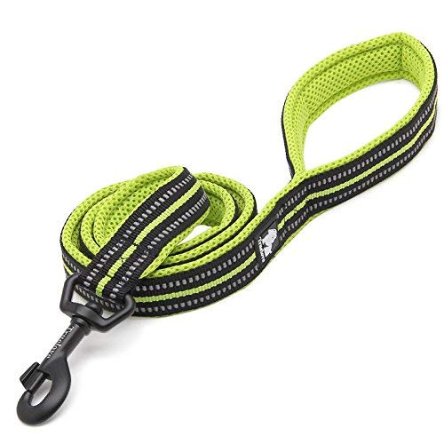 Green S 44in 1.5CM×110CM HSDDA Dog Outdoor Leash Pet leash high-end nylon mesh with reflective strips tough pull-resistant dog chain, black, L 44in  2.5CM×110CM Walking Leash (color   Green S 44in 1.5CM×110CM)